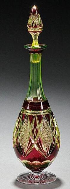 Cut Glass; Cruet & Stopper, Baluster, Ruby Cut to Vaseline, 14 inch.