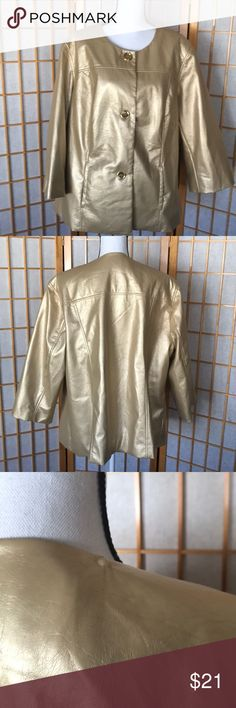 """Sg Harbor Gold Jacket Size 22 Beautiful Gold long sleeved jacket. Jacket is 100% Polyester and fully lined. 3/4 sleeves measure 22"""" Armpit to Armpit is 25"""" Length from top of back collar is 26"""" 2 small scratches on shoulders of each sleeve - see photos Sag Harbor Jackets & Coats"""