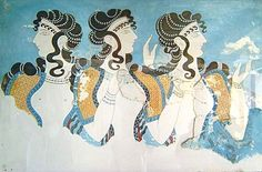 Blue Ladies fresco of Minoan women from the Palace of Knossos, 1600 BCE. The Minoan civilization was a Bronze Age civilization that arose on the island of Crete and flourished from about the 27th–15th century BC