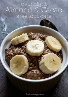 Almond & Cacao Steel Cut Oats #vegan - Ready in 5 minutes. Prepare a ...