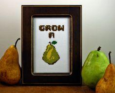 DIY Grow A Pair - .pdf Original Cross Stitch Pattern. $4.00, via Etsy.