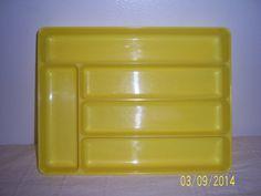 Vintage Yellow Flatware Organizer  -  LUSTRO WARE Silverware Tray  -  Kitchen Drawer Organizer -  Flatware Holder -  Retro Kitchen Organizer on Etsy, $12.00