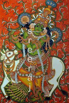 Krishna Kerala Mural Painting, Krishna Painting, Madhubani Painting, Buddha Painting, Indian Traditional Paintings, Indian Paintings, Madhubani Art, Indian Folk Art, Art Corner