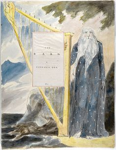 William Blake title page illustration for 'The Bard' by Thomas Grey. 1797-98.