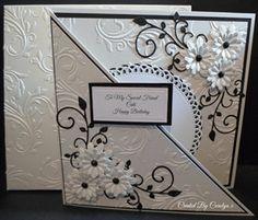 Like the way it opens on the diagonal ~ BIRTHDAY CARD by: carolynshellard black & white