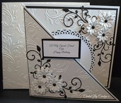 Like the way it opens on the diagonal ~ BIRTHDAY CARD by: carolynshellard black & white