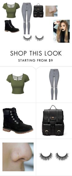 """""""Untitled #14"""" by shortiiiee ❤ liked on Polyvore featuring LE3NO, Topshop, Timberland and Sole Society"""