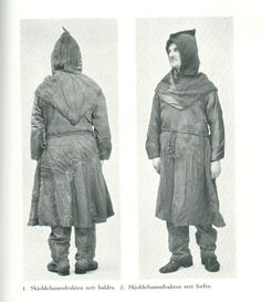 In 1936 a body was found in a bog near Skold harbor (Skjoldehamn), on the Norwegian island of Andoya.  Found with the skeleton were items including an undertunic, overtunic, pants, hood, hose, leg wrappings, shoes, braided belt, and a knife (only the handle survived).  It appears they were wrapped in a checked fabric blanket and laid upon a reindeer skin.  Dating from 995-1029 AD.
