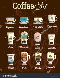 Vector Set A Variety Of Coffee Drinks, Cafe Menu, The Composition Of The Coffee Beverage - 508674265 : Shutterstock Espresso Latte, Espresso Drinks, Coffee Latte, Coffee Set, Latte Macchiato, Iced Coffee, Coffee Drinks, Cappuccino Art, Coffee Mugs