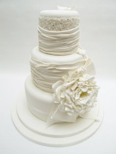 Stunning all white wedding cake - Emma Jayne Cake Design
