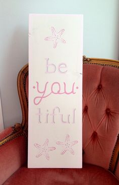 be.you.tiful, starfish, pink, breast cancer awareness, hand painted sign, home decor whitewash/pink border/pink text