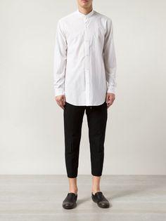 VIRIDI-ANNE - Cotton Mandarin Collar Shirt - CL-155-02 WHITE - H. Lorenzo