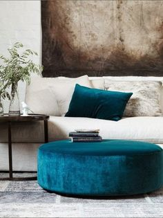 Velvet Interiors by VKV Visuals | WONDERFUL AQUA VELVET OTTOMAN-FOOTSTOOL-TABLE -VIA AUTOMATISM