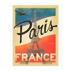 Paris Vintage Travel Canvas Print Paris Vintage, Vintage Travel, Vintage Airline, French Vintage, Vintage Style, Vintage Fashion, Vintage Prints, Vintage Posters, Paris France