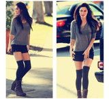 Love this look Over Knee Socks, Thigh High Socks, Thigh Highs, What Should I Wear Today, Spencer Hastings, High Knees, Skater Skirt, My Style, Boots