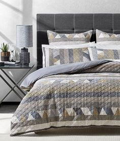 The Hugo quilt cover is a modern take on striped design. An appealing combination of small geometric patterns, shapes and stripes is enhanced by an all-over quilted finish on this quilt cover. Cotton House, Single Quilt, Neutral Bedrooms, Bed Linen Design, How To Finish A Quilt, Contemporary Quilts, Quilt Cover Sets, Beautiful Bedrooms, Stripes Design