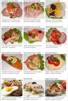 Typical danish combinations of open face sandwiches, from the danish food culture website Danish Cuisine, Danish Food, Sandwiches, Nordic Diet, Denmark Food, Norwegian Food, Norwegian Recipes, Tandoori Masala, Open Faced Sandwich