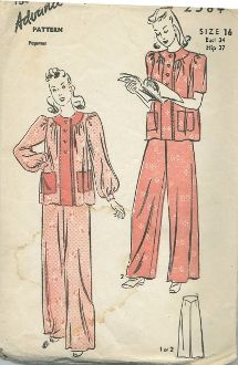 An original ca. 1940's Advance pattern 2584.  Front buttoned pajama top has patch pockets. View 1: long sleeves with buttoned cuff. View 2: short sleeves. Pajama pants have yoke.