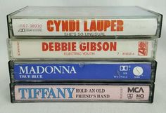 Lot of 4 80s pop music cassettes Madonna Debbie Gibson Tiffany Cyndi Lauper