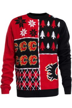You'll never be cold in your own Calgary Flames Ugly Christmas Sweater. This Calgary Flames Ugly Christmas Sweater is officially licensed by the NHL. Ugly Holiday Sweater, Christmas Sweaters, Calgary, Flames Hockey, Xmas Ideas, Gift Ideas, My Handsome Man, Hockey Girls, Hockey Teams