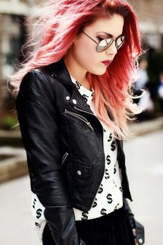 LE HAPPY // Dollar Sign. She's just too cool.. That leather jacket!