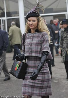 One spectator keeps things traditional and elegant in tailored tweed