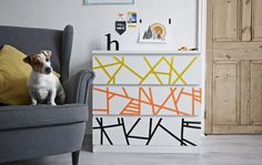 Reinvent a plain piece of furniture with a quick and easy makeover. All you need is some colourful washi tape to create your own graphic-inspired design. More quick and easy DIY ideas at IKEA.com #IKEAIDEAS