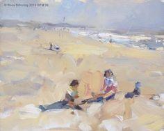 """""""SP 26 Children on rainbow beach (sold)"""" - Original Fine Art for Sale - © Roos Schuring"""