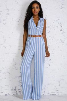 Sleeveless Vertical Striped Jumpsuit with BeltV-Nekcline with Button ClosureBottom Side PocketsLeft Side Zipper RayonHand Wash ColdDo Not BleachHang Dry- Model is wearing a si. Casual Jumpsuit, Striped Jumpsuit, High Fashion, Womens Fashion, Fashion Trends, Sassy Pants, Fashion Forever, Casual Wear, Street Style