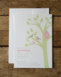 Bird House Baby Shower Invitation- family tree just grew a leaf