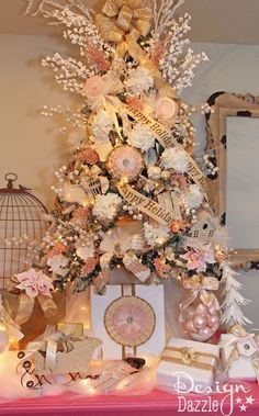 Christmas Dream Tree Challenge by Michaels - Vintage Shabby Chic Christmas tree designed by Toni of Design Dazzle #shabbychicchristmas #christmastree #tagatree