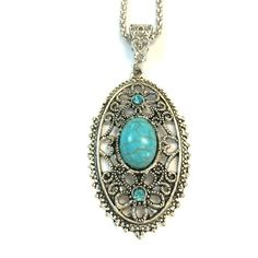Natural turquoise necklace oval Oval natural turquoise necklace 18 inch chain Jewelry Necklaces