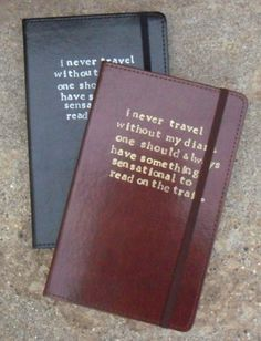 I never travel without my diary... Oscar Wilde Leather Journal Quote from The Importance of Being Earnest