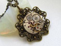 Steampunk jewelry Steampunk Gothic filigree necklace  by Timewatch, $27.00