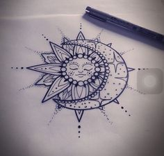 Lovely Mandala Sun And Moon Tattoo Design