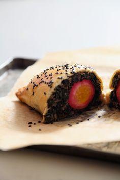 Beet Pickled Egg and Chard Empanadas with Black Sesame
