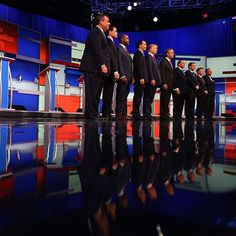 "Candidates in the first #Republican primary debate stood onstage at Quicken Loans Arena in #Cleveland Ohio. From left to right: @chrischristie @marcorubiofla @realbencarson @scottwalker @realdonaldtrump @jebbush @govmikehuckabee @sentedcruz @drrandpaul and @JohnKasich. ""It doesn't feel like a debate that changed the dynamic of the race"" writes the @nytimes reporter Nicholas Confessore. Follow @ericthayer to see more from the #GOPDebate. by nytimes"