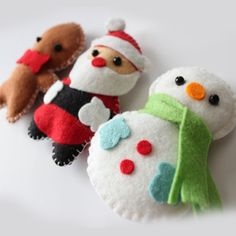 Felt Plush Ornaments Santa Claus Snowman & by dropsofcolorshop Christmas Tree Ornaments, Merry Christmas, Christmas Decorations, Birth Of Jesus Christ, Celebration Day, Christmas Delivery, Gingerbread Man, Wool Felt, Snowman