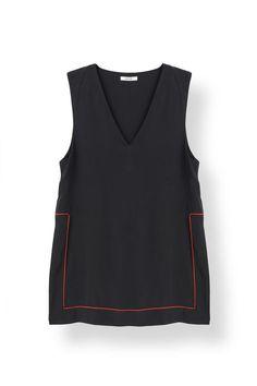 Grace Silk Long Top, Black