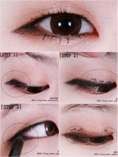 Lengthening your eye shape. Click through for full tutorial! Source: http://blog.naver.com/weinnie/