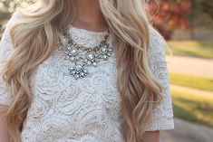 Lace & statement necklace.