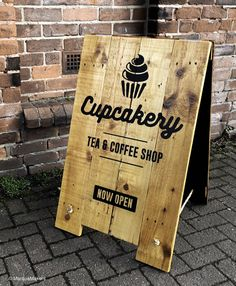 Handmade wooden pavement signs / A Board / A Frame sign for Cake, Tea & Coffee shops alike ! Produced in-house by MarqueMakers (Sheffield) Coffee Shop Signs, Coffee Shops, A Frame Signs, Herbalife Shake Recipes, Design Café, Wooden Cake, Shop Front Design, Shop Window Displays, Shop Plans