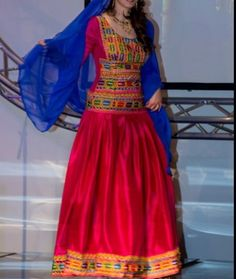 Red afghan traditional dress