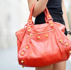 balenciaga handbag purse in leather dark coral