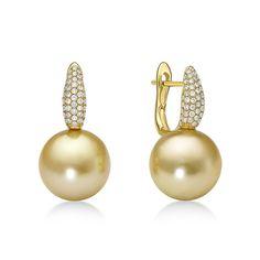 Golden Slim Earrings Diamonds - South Sea pearl earrings