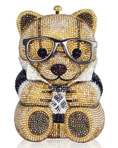 Spencer+Teddy+Bear+Evening+Clutch+Bag,+Brown/Gold+by+Judith+Leiber+Couture+at+Neiman+Marcus.