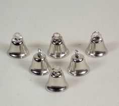 6 Each 14 mm Nickel Plated Liberty Bells for Small Bird Toys