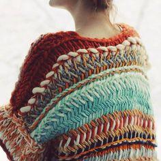 Pretty sweater. Scraps of yarn?
