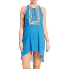 Shoshanna Embellished Cotton Bohemian Tank Dress ($315) ❤ liked on Polyvore featuring dresses, apparel & accessories, cobalt, cotton dress, cutout dress, hi lo dresses, blue tank dress and shoshanna dresses