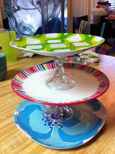 3-tiered desert stand - plates from Target & 2 glass candle stick holders from the Dollar Store